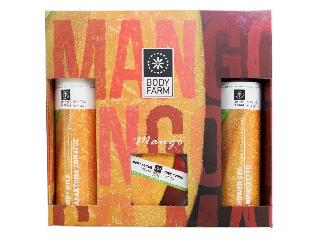 Dárkové balení sprchový gel, tělové mléko 2x250ml a tělový peeling 200ml MANGO BODYFARM