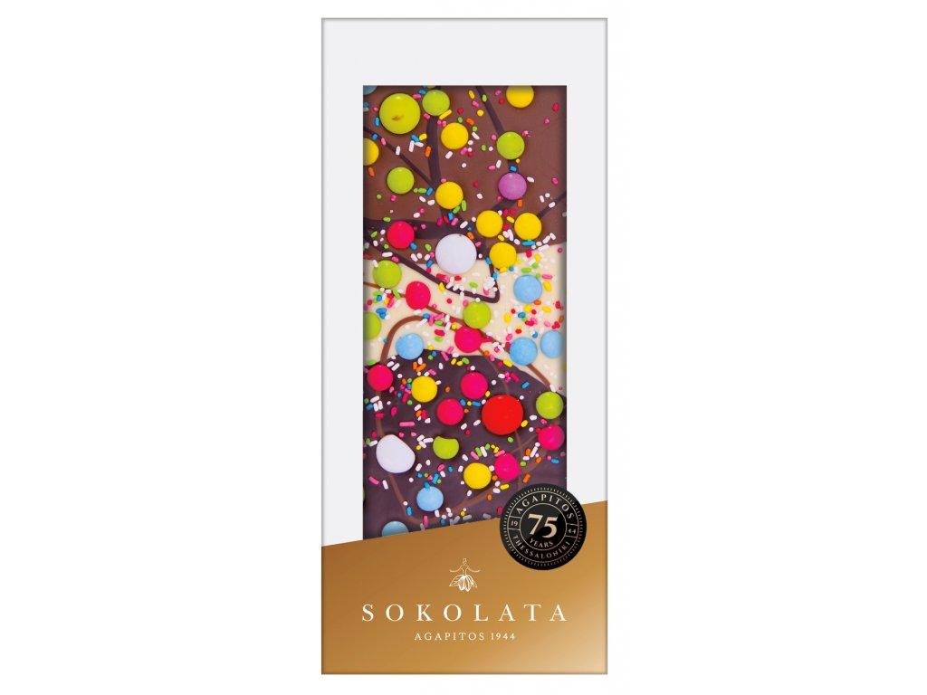 Mlecna horka a bila cokolada s lentilkami Sokolata Agapitos Greek Market