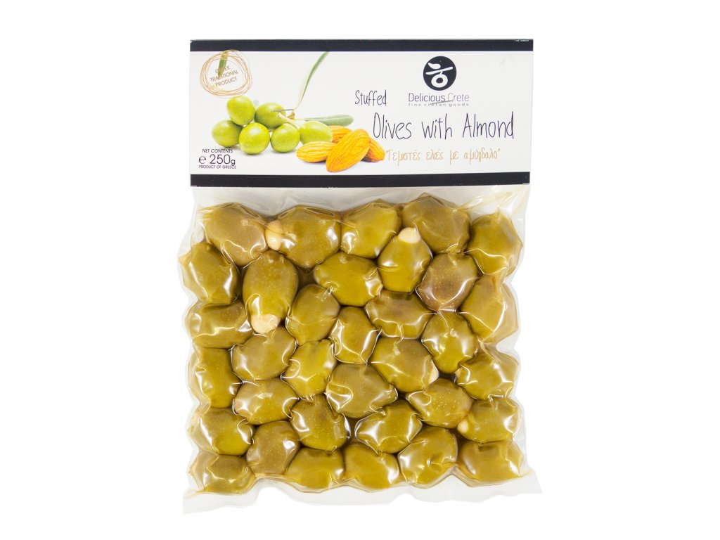 Delicious Crete zelene olivy plnene mandli Greek Market