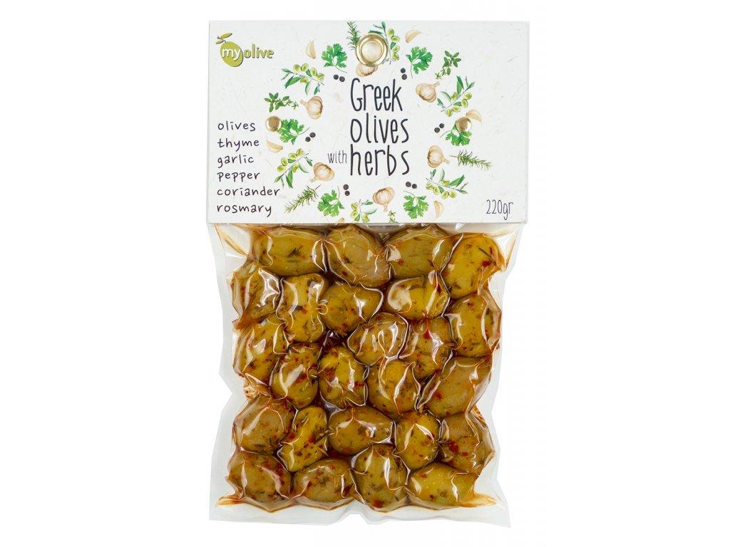 Ochucene zelene olivy s tymianem, cesnekem, peprem, koriandrem a rozmarynem My Olive Greek Market
