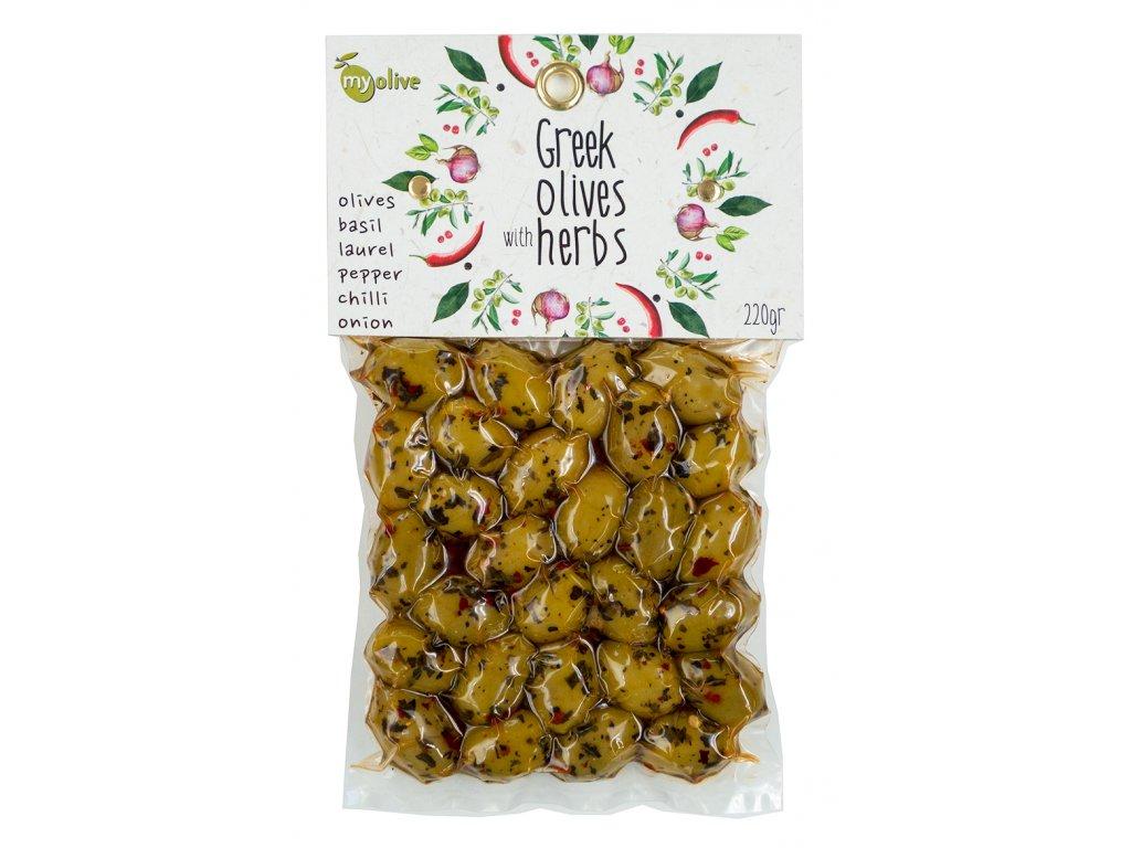 Ochucene zelene olivy s bazalkou, vavrinem, peprem, chilli a cibulkou My Olive Greek Market
