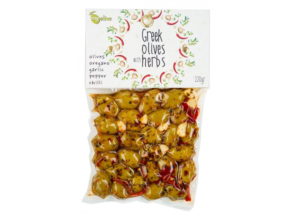 Ochucene zelene olivy s oreganem, cesnekem, paprikou a chilli My Olive Greek Market
