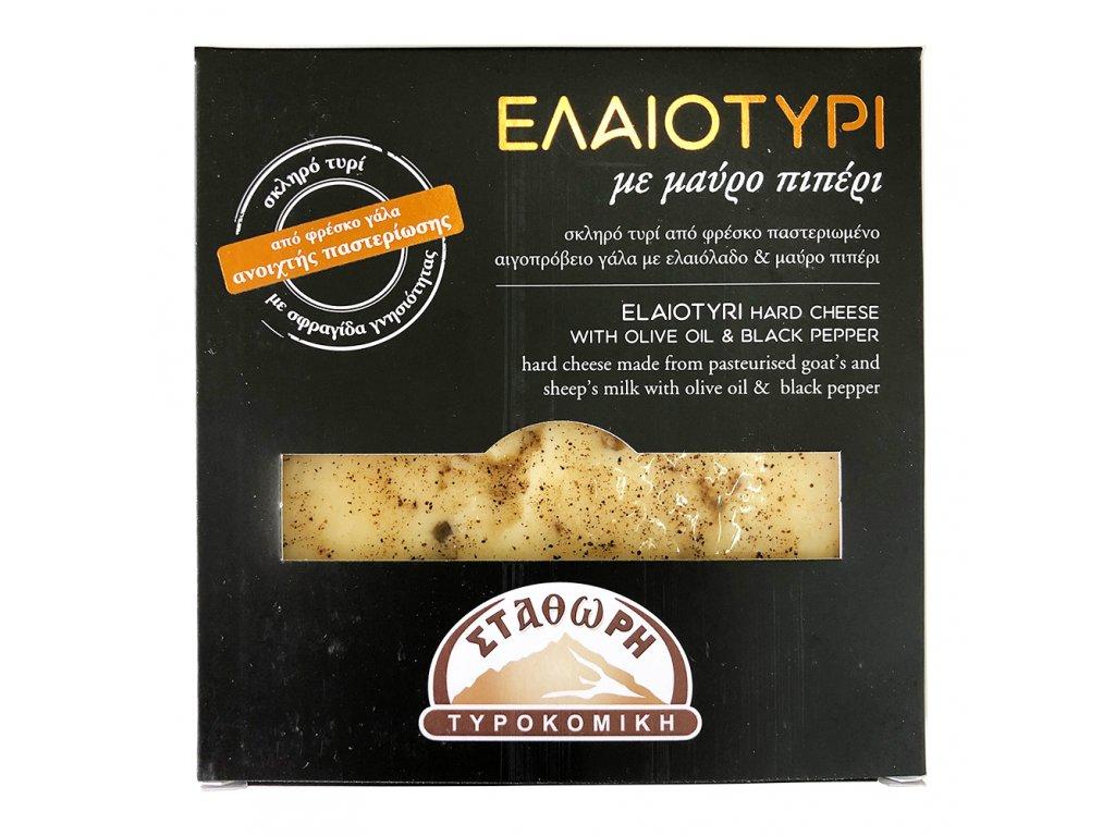 Stathoris Elaiotyri tvrdy syr z ovciho a koziho mleka s olivovym olejem a cernym peprem Greek Market