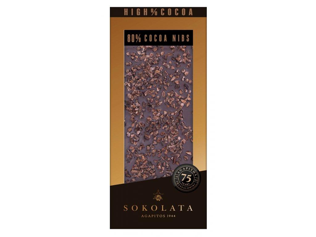 80% horka cokolada s kousky kakaa Agapitos Greek Market