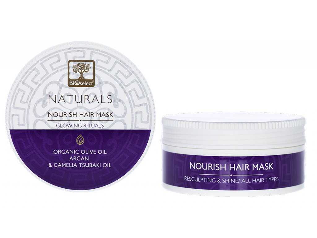 BIOselect NATURALS vyzivovací maska pro obnovu a lesk pro vsechny typy vlasu GLOWING RITUALS GreekMarket