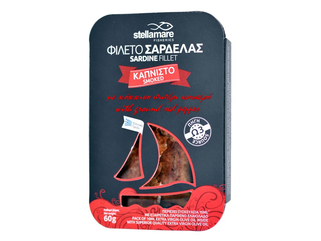 StellaMare uzene sardinky s cervenou mletou paprikou s extra panenskym olivovym olejem GreekMarket