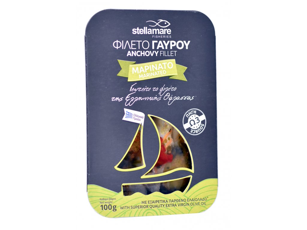StellaMare marinovane ancovicky se zeleninkou s extra panenskym olivovym olejem GreekMarket