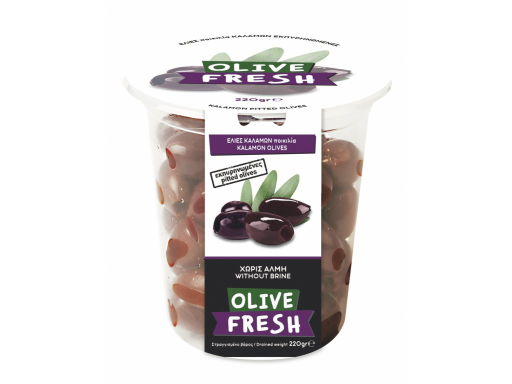 Řecké kalamon olivy bez pecek 220g OLIVE FRESH