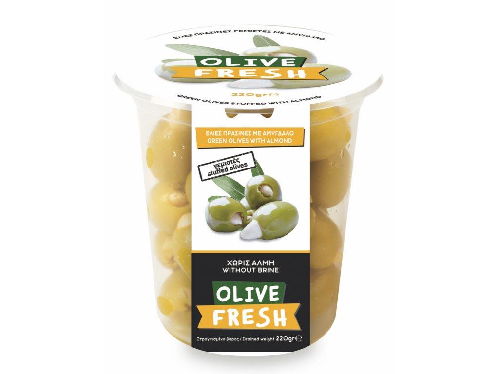 Zelené řecké olivy plněné mandlemi 220g OLIVE FRESH