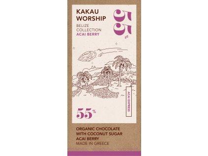 Kakau BIO horka cokolada s plody palmy Acai kolekce Belize GreekMarket