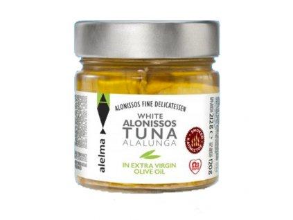 Uzený bílý tuňák v olivovém oleji z ostrova Alonissos 212g ALELMA