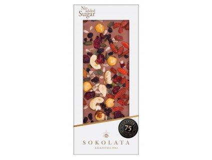 Mlecna cokolada bez cukru s orechy Sokolata Agapitos Greek Market