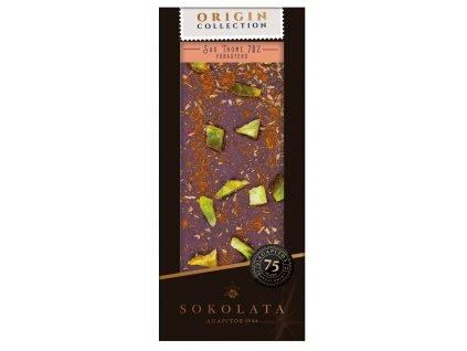 SAO THOME 70% horká cokoláda s tymiánem, kardamomem, citrónem a uzeným peprem