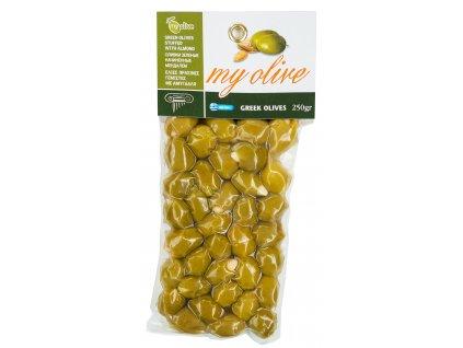 Zelene recke olivy plnene mandlemi My Olive Greek Market