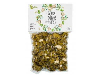 Ochucene zelene olivy s ceskenek a bazalkou My Olive Greek Market