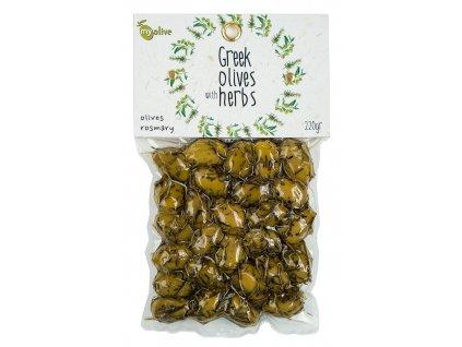 Ochucene zelene olivy s rozmarynem My Olive Greek Market