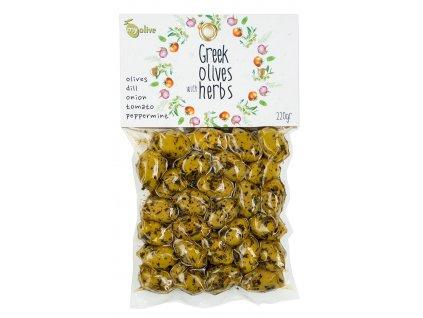 Ochucene zelene olivy s koprem, cibulkou, rajčaty a mátou My Olive Greek Market