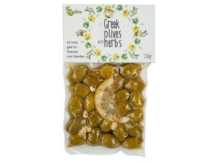 Ochucene zelene olivy s cesnekem, citronem a koriandrem My Olive Greek Market