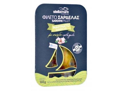 StellaMare marinovane sardinky s cesnekem a zeleninkou s extra panenskym olivovym olejem GreekMarket
