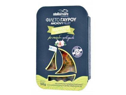StellaMare marinovane ancovicky s cesnekem a zeleninkou s extra panenskym olivovym olejem GreekMarket