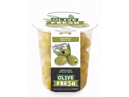Zelené řecké olivy bez pecek 220g OLIVE FRESH
