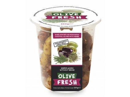 Řecký mix oliv s oreganem a tymiánem bez pecek 220g OLIVE FRESH