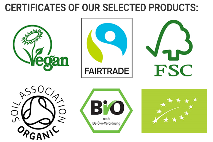 Certificates Green Heads | Vegan | Bio | Fairtrade | FSC | Soil Association Organic