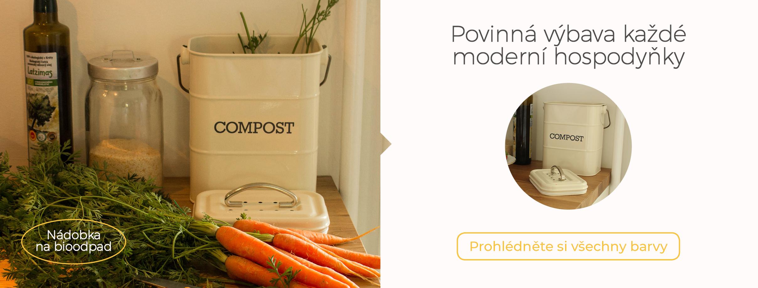 Plechová kompostovací nádoba na bioodpad z kuchyně