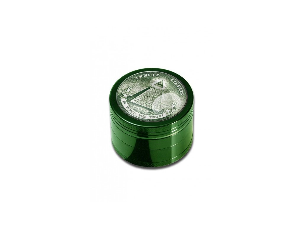 'Black Leaf' Grinder 4 parts 'In Weed We Trust'