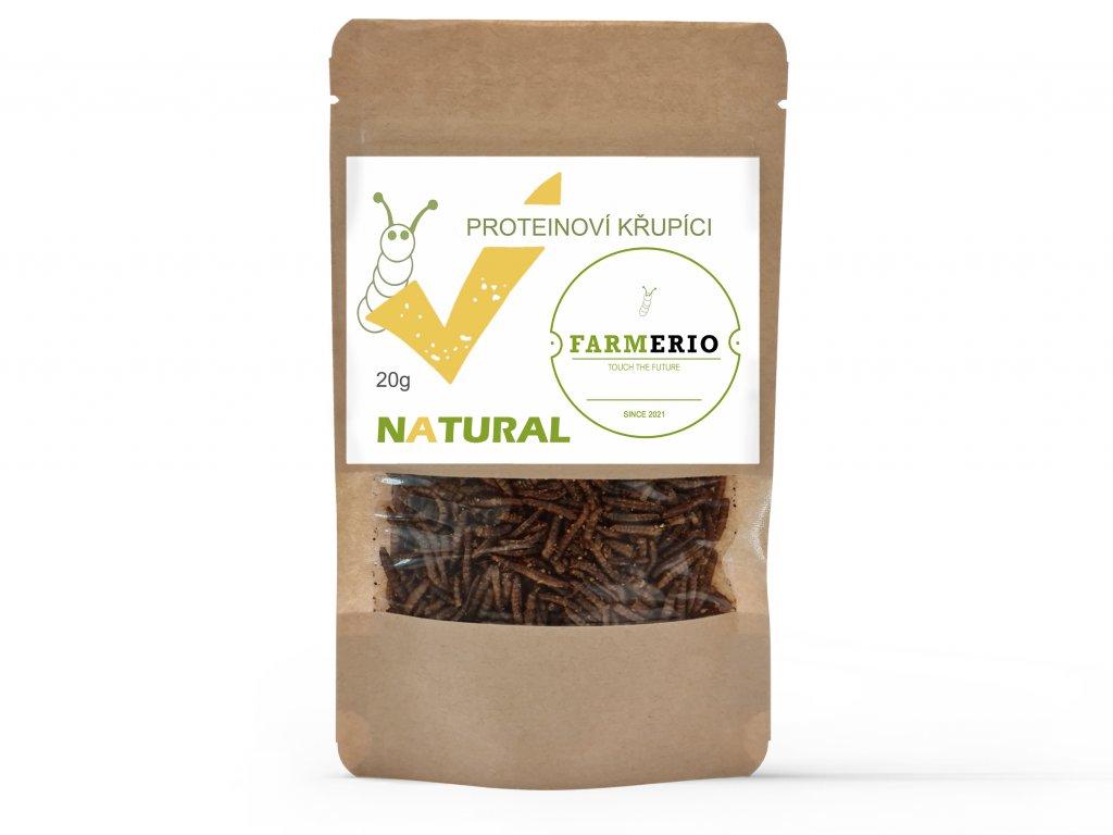 Farmerio Proteinový křupíci Natural Křupaví červíci Sušení červíci Jedlý hmyz Grig