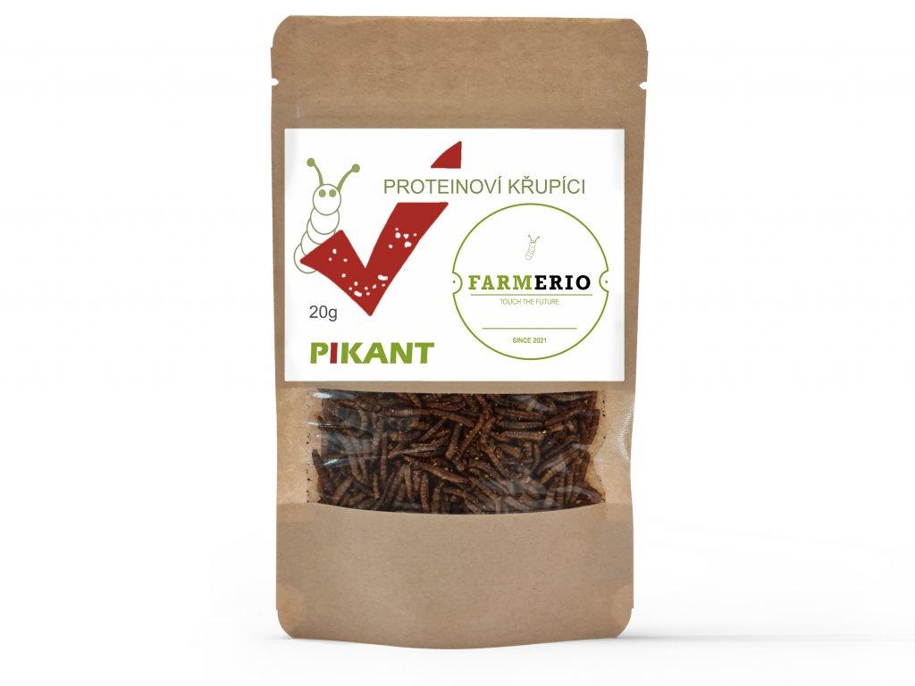 Farmerio Proteinový křupíci Pikant Křupaví červíci Sušení červíci Jedlý hmyz Grig