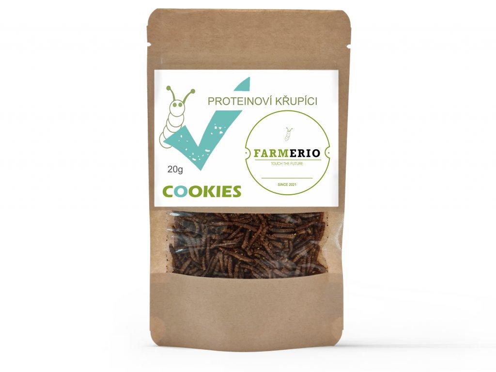 Farmerio Proteinový křupíci Cookies Křupaví červíci Sušení červíci Jedlý hmyz Grig