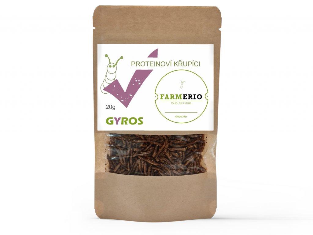 Farmerio Proteinový křupíci Gyros Křupaví červíci Sušení červíci Jedlý hmyz Grig