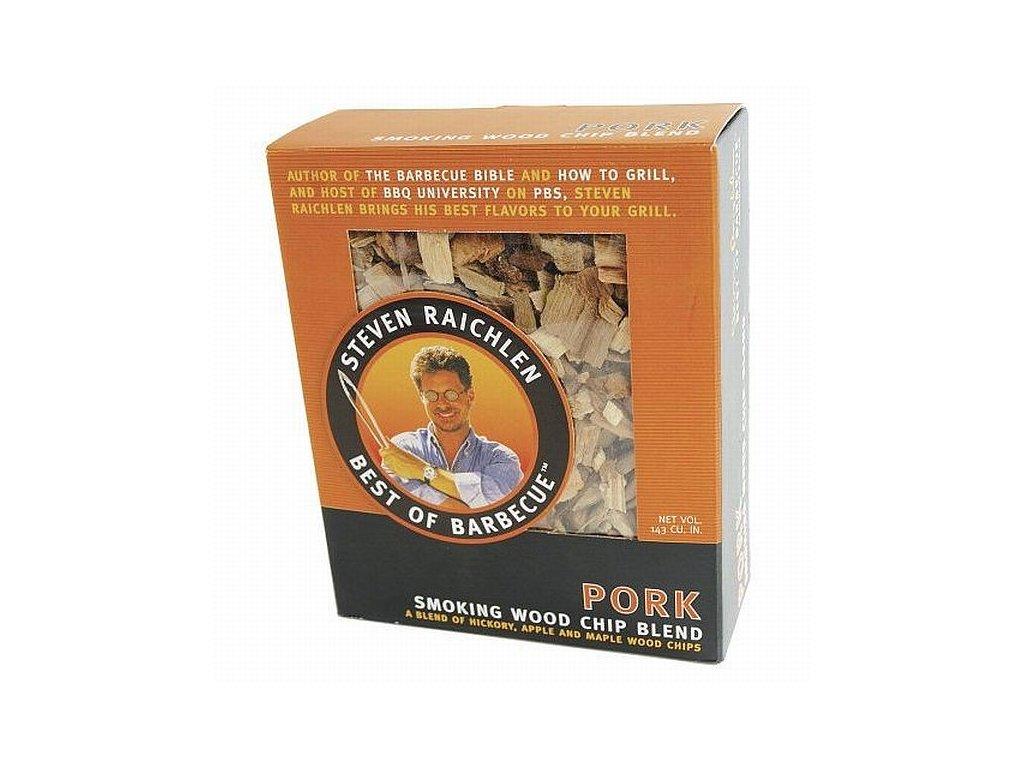 Směs dřevěných lupínků k uzení vepřového masa