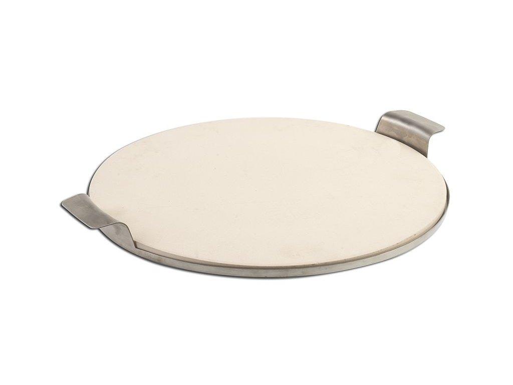 Kruhový keramický pizza kámen 38cm s nerezovým talířem s madly