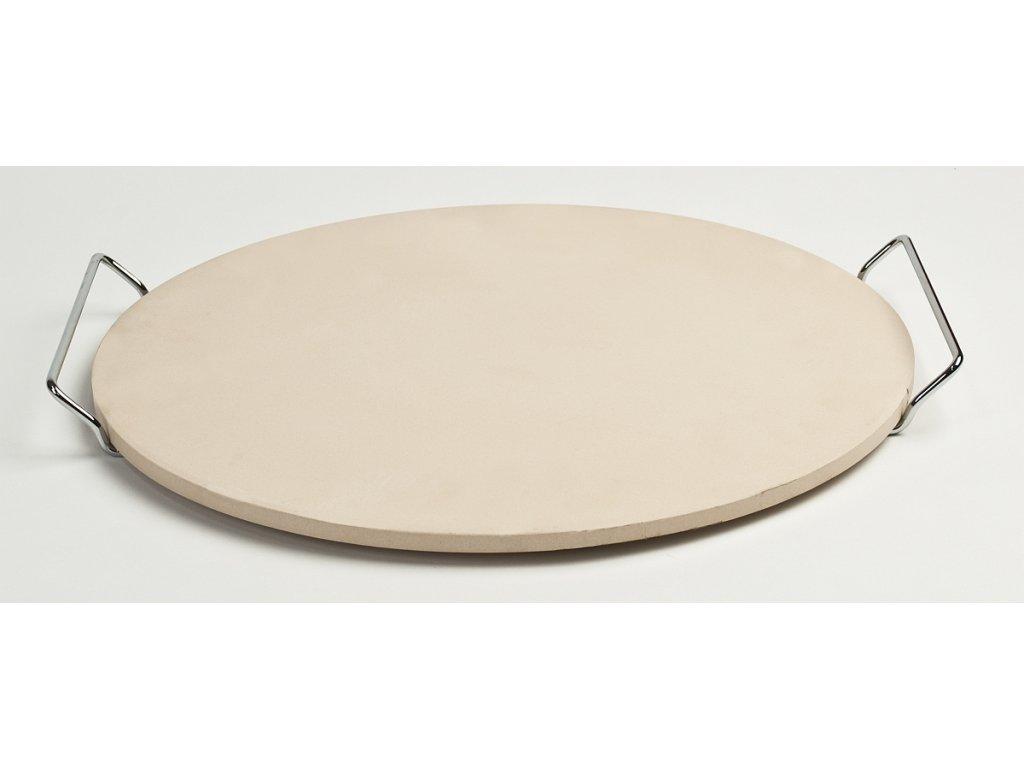 Kruhový keramický pizza kámen Ø 38 cm se dvěma madly