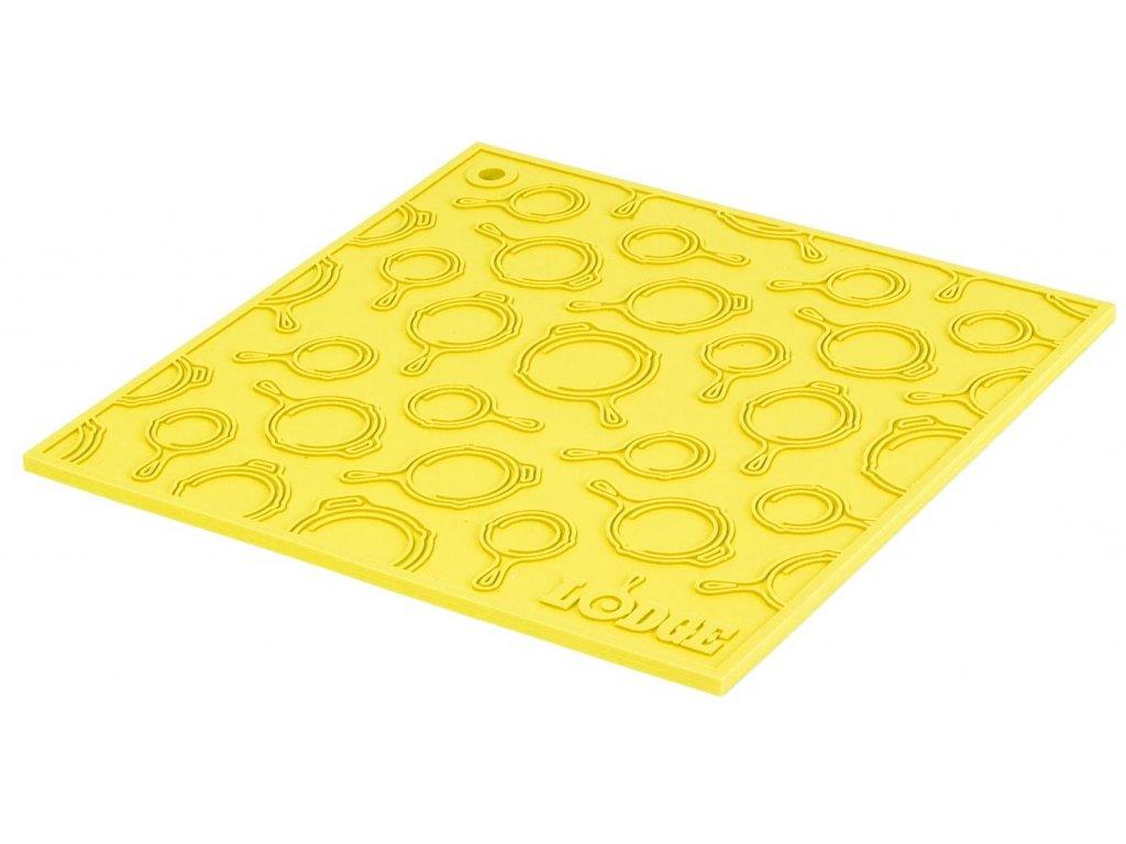 Žlutá silikonová podložka s reliéfem pod litinový hrnec/pánev Lodge