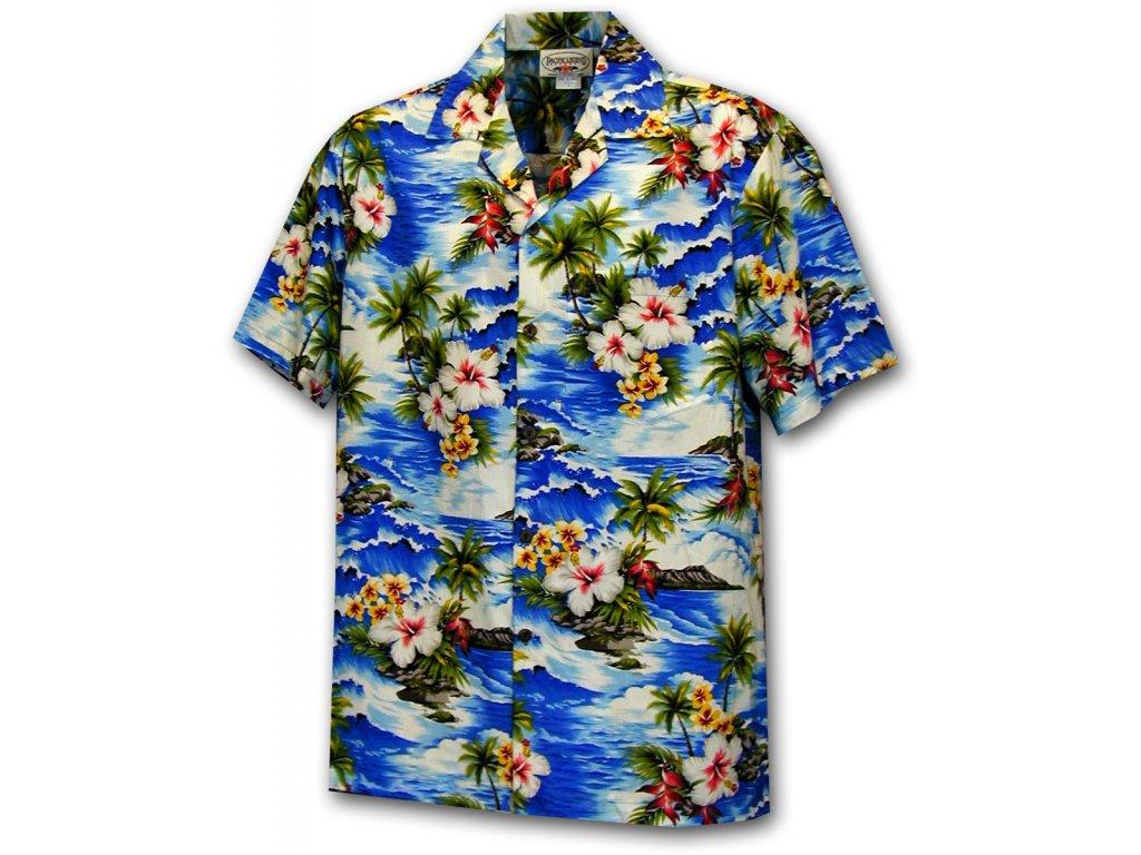 Havajská košile s motivem ibišku a moře L