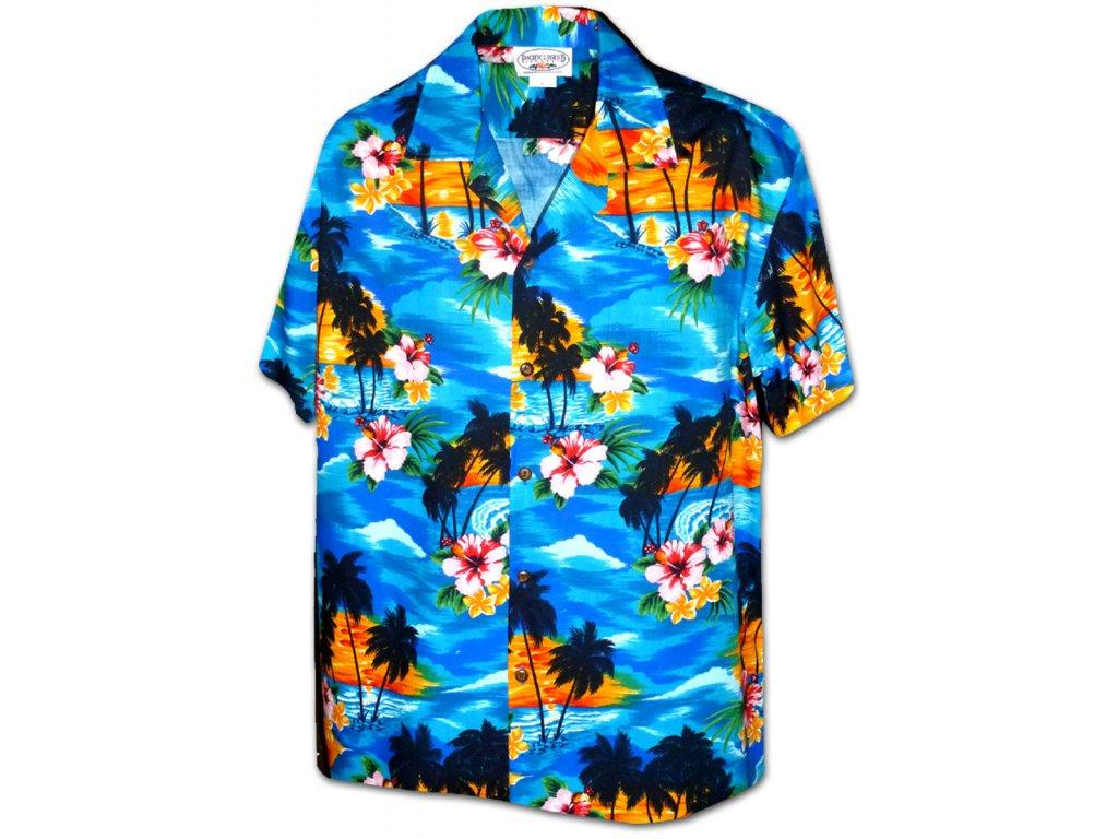 Modrá havajská košile s motivem ibišku a palem L