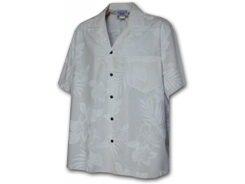 Bílá havajská košile s motivem květů XL