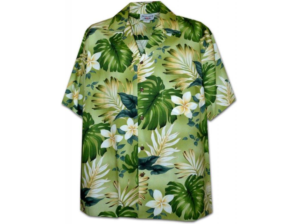 Zelená havajská košile s motivem květů XL