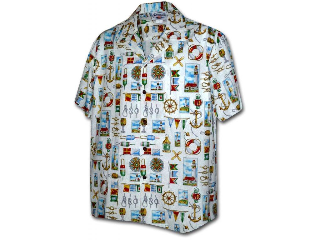 Bílá havajská košile s námořním motivem XL