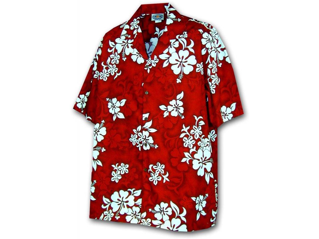Červená havajská košile s motivem květů XL