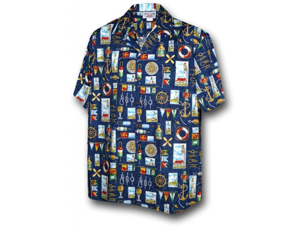 Modrá havajská košile s námořním motivem L