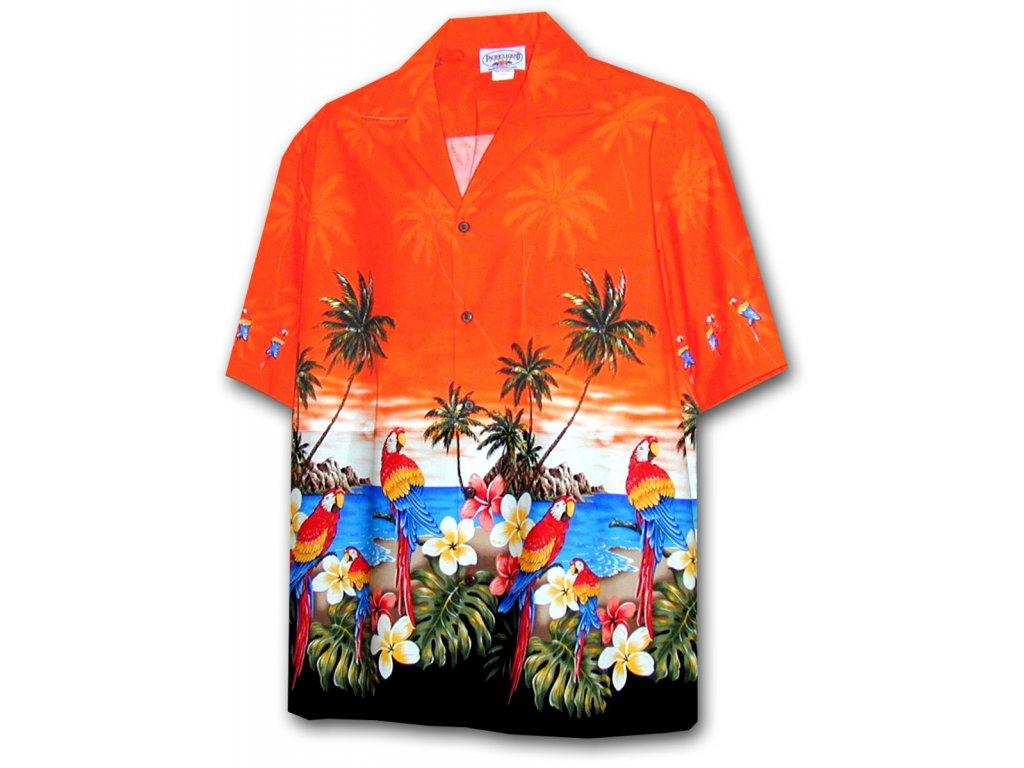 Oranžová havajská košile s motivem palem a papoušků XL