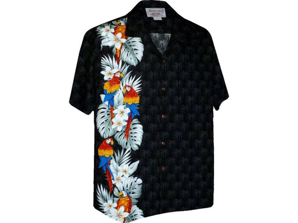 Černá havajská košile s motivem papoušků 2XL