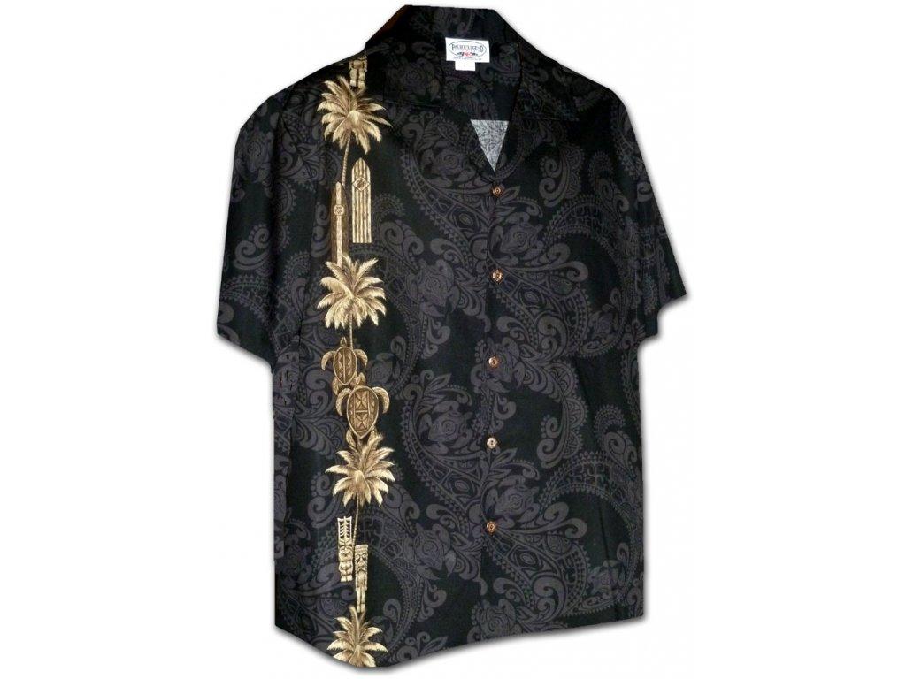 Černá havajská košile s ostrovním motivem L