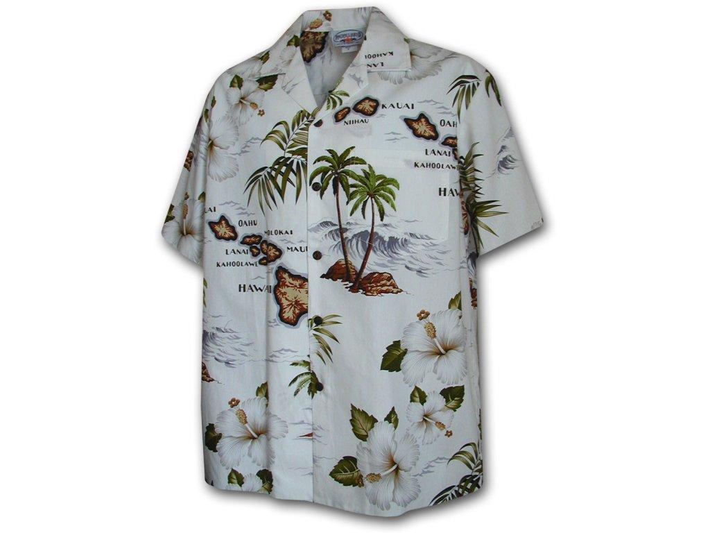Havajská košile s motivem ostrovu a ibišku 2XL