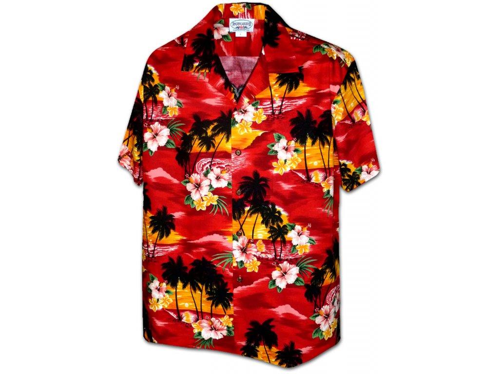 Červená havajská košile s motivem ibišku a palem 2XL