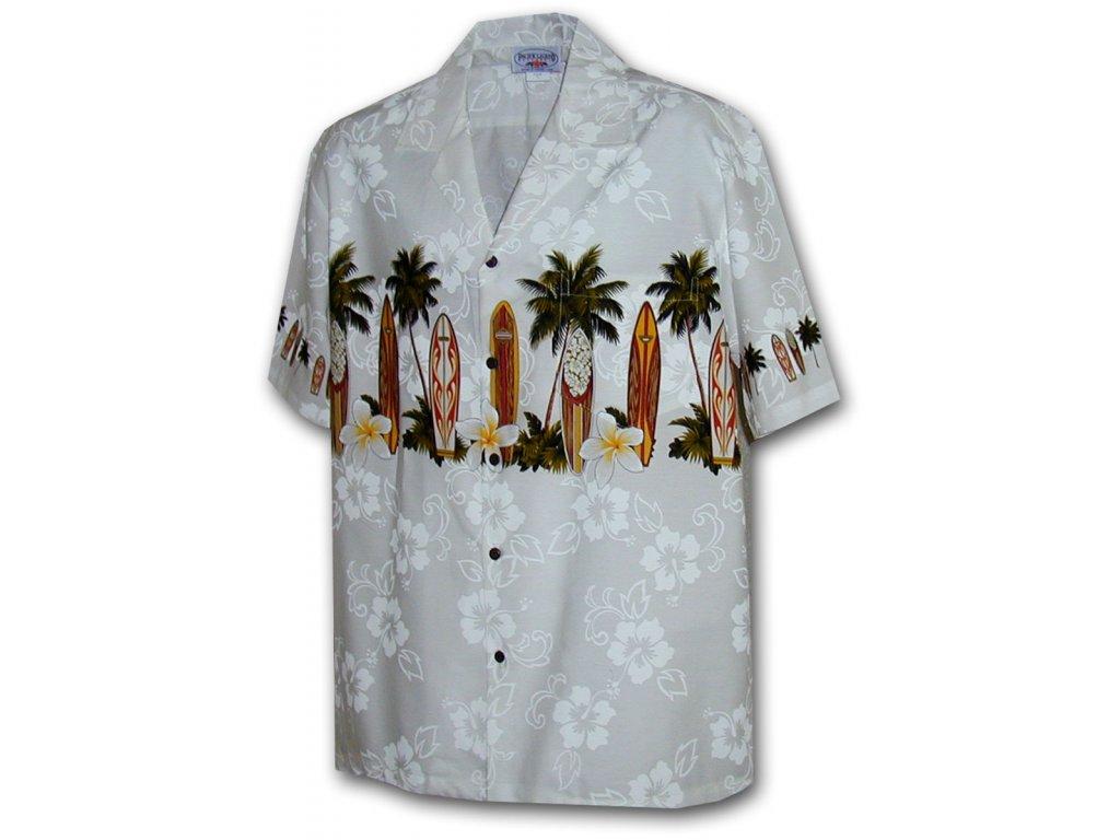 Bílá havajská košile s motivem palem a surfování L